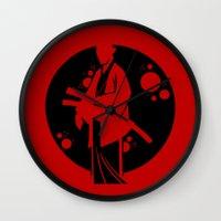 samurai Wall Clocks featuring Samurai by Artistic Dyslexia