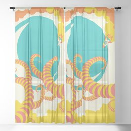 Retro design of flying space rocket Sheer Curtain
