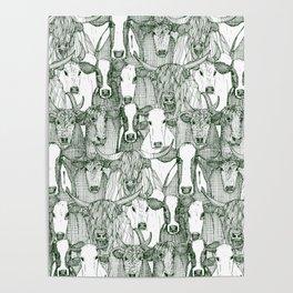 just cattle dark green white Poster