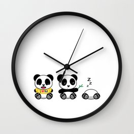 Three Little Pandas Wall Clock