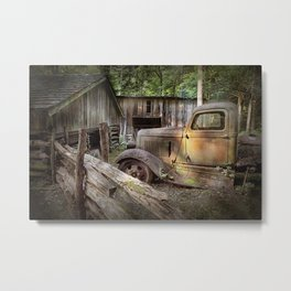 Old Farm Pickup Truck in the Smoky Mountains in Tennessee Metal Print