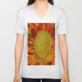 flower of sun (This Art work is in collaboration with the great artist designer Joe Ganech) Unisex V-Neck