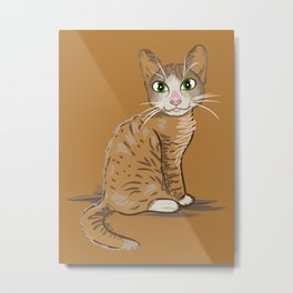 Brown Cat Illustration Metal Print