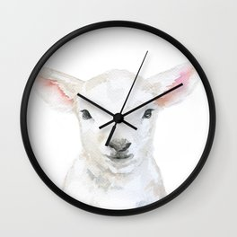 Lamb Face Watercolor Wall Clock