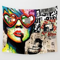 punk rock Wall Tapestries featuring Punk Rock poster by Mira C