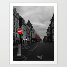 Paris black and white with color Art Print