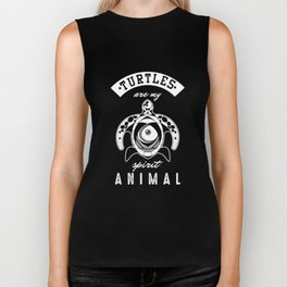Turtles Are My Spirit Animals Turquoise Wildlife Ocean Aquatic Animals Gift Biker Tank