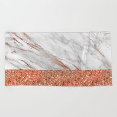 Luxury and glamorous pink glitter and white marble Beach Towel
