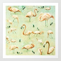 flamingos Art Prints featuring Flamingos by Lisa Argyropoulos