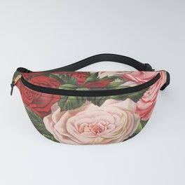 Vintage crimson red and pink roses garden on dark royal green Fanny Pack