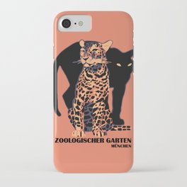 Retro vintage Munich Zoo big cats iPhone Case 476ee96283a0e