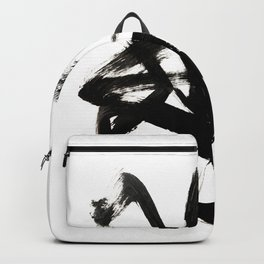 Brushstroke 4 - a simple black and white ink design Backpack