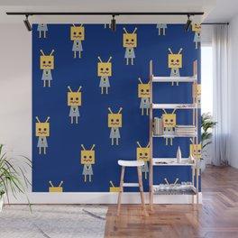 Shy Little Robot (blue) Wall Mural