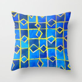 blue abstract pattern Throw Pillow