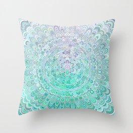Turquoise Ice Flower Mandala Throw Pillow