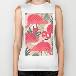 Retro Flamingo Patter Biker Tank