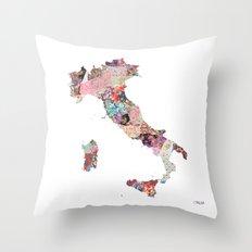 Italia map Throw Pillow