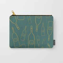 Gold wine bottle pattern on green Carry-All Pouch