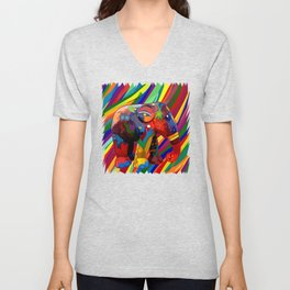 Full Color Abstract Elephant Unisex V-Neck