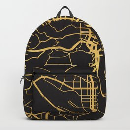 PORTLAND OREGON GOLD ON BLACK CITY MAP Backpack