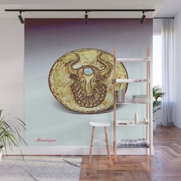 Third Eye Turquoise bull  Wall Mural