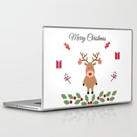 merry christmas Laptop & iPad Skins featuring Merry Christmas by haroulita