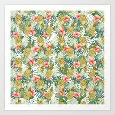 Tropical Hibiscus Pineapples Leaves Watercolor Floral Art Print