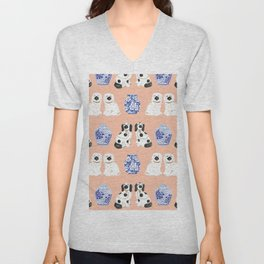 Staffordshire Dogs + Ginger Jars No. 5 Unisex V-Neck