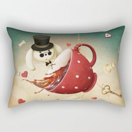 fantasy with red cup of tea and rabbit Rectangular Pillow