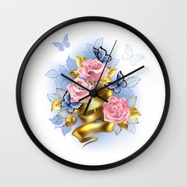 Pink Roses with Gold Ribbon Wall Clock