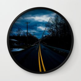 Yellow and Blue Road Wanderer Wall Clock