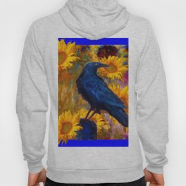 DECORATIVE AWESOME CROW SUNFLOWERS GARDEN ART Hoody