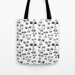 Funky Faces in White Tote Bag