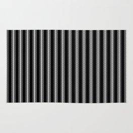Black and White English Rose Trellis on Mattress Ticking Stripe Rug