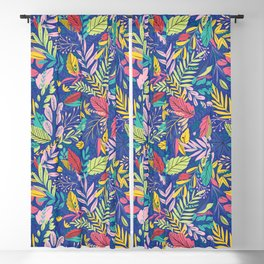 Fruit Tea Florals - Blueberry Blackout Curtain