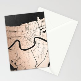 New Orleans Rose Gold and Black Map Stationery Cards