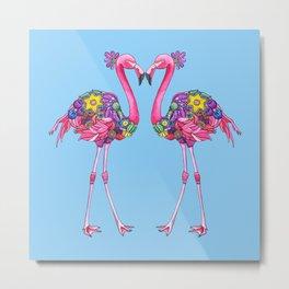 Fancy Felicity Flamingo (Blue) Metal Print