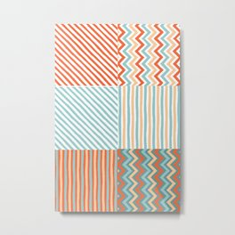 Colorful Southwestern Striped Pattern Collage Metal Print