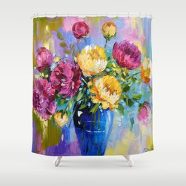 Bouquet of peonies in a vase Shower Curtain