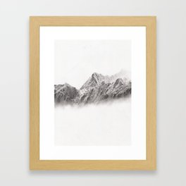 mountain range pencil art Framed Art Print