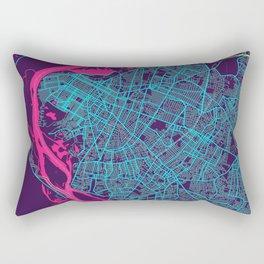 Asuncion Neon City Map, Asuncion Minimalist City Map Art Print Rectangular Pillow