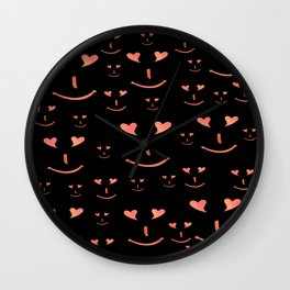 face, laugh, smile, heart, mouth, eyes, black, red, pink, spirit Wall Clock