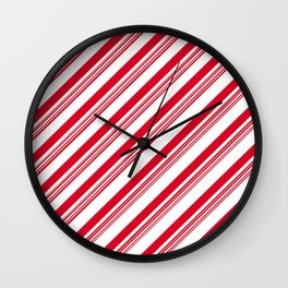 Red Candy Cane Stripes Wall Clock
