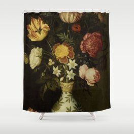 Ambrosius Bosschaert - Still life with flowers in a Wan-Li vase (1619) Shower Curtain