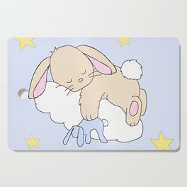 Floppy Ears Woodland Baby Bunny Sleeping on Cloud in Starry Night Sky Cutting Board
