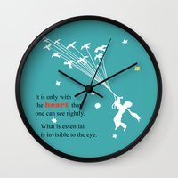 le petit prince Wall Clocks featuring LITTLE PRINCE -Le petit prince- art poster by Chara Anagnostopoulou