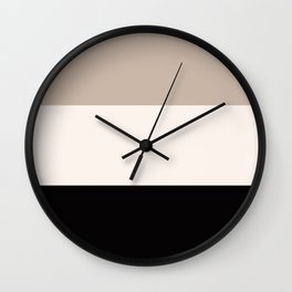 black tan cream bold stripes Wall Clock