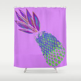Neon Pineapple Punch on textured pink Shower Curtain