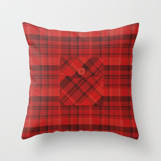 Plaid Pocket - Red Throw Pillow