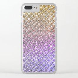 Pastel Glitter Mermaid Scallops Pattern Clear iPhone Case